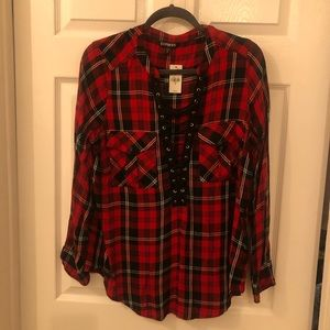 NWT Lace up Plaid Shirt- Express